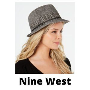 Nine West Packable Fedora Hat - Black and White
